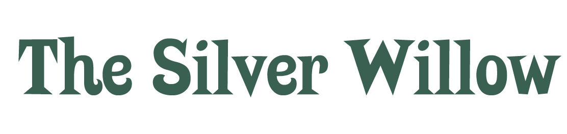 The Silver Willow in a green, bold font